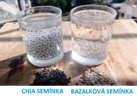 Rozdíl mezi chia semínky a bazalkovými semínky ve vodě.