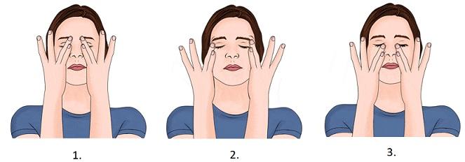 Takto masírujte kruhovými pohyby kolem očí.