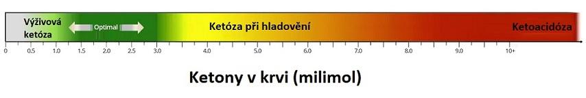 Tento obrázek ukazuje obrovský rozdíl v množství ketonů v krvi mezi ketózou a ketoacidózou