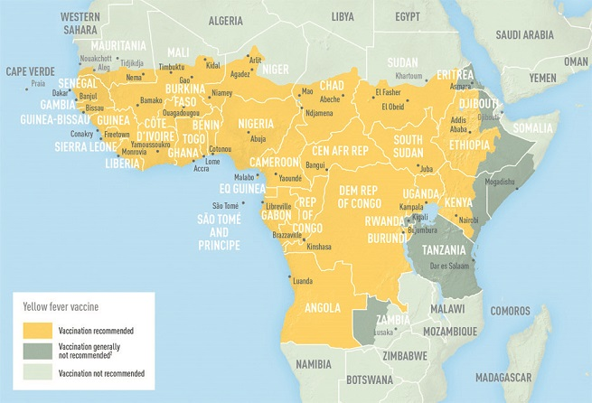 Žlutá místa na mapě ukazují, ve kterých místech Afriky se doporučuje očkování proti žluté zimnici.