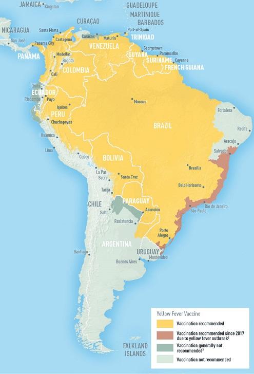 Žlutá místa na mapě ukazují, ve kterých místech Jižní Ameriky se doporučuje očkování proti žluté zimnici.