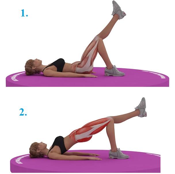 Zvedejte takto hýždě s nataženou nohou (pak nohu vyměňte)
