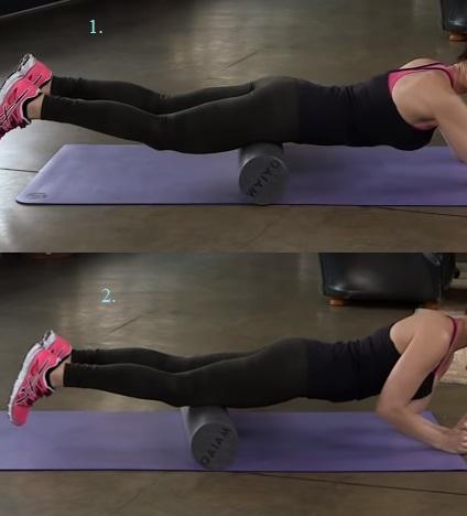 Takto pohybujte válečkem od kolen ke kyčlím tím, že budete mírně zvedat horní část těla.