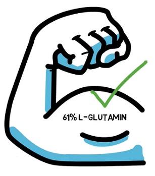 L-glutamin podporuje váš imunitní systém, stejně jako zdraví vašich střev. Může také pomáhat budování svalů.