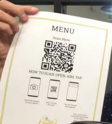 QR kód pro načtení menu restaurace do vašeho mobilního zařízení