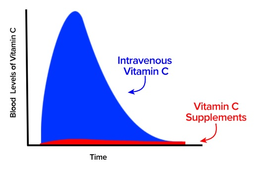Vitamín C intravenózně (modrý) a suplementace ústy (červený) - vývoj množství vitamínu v čase